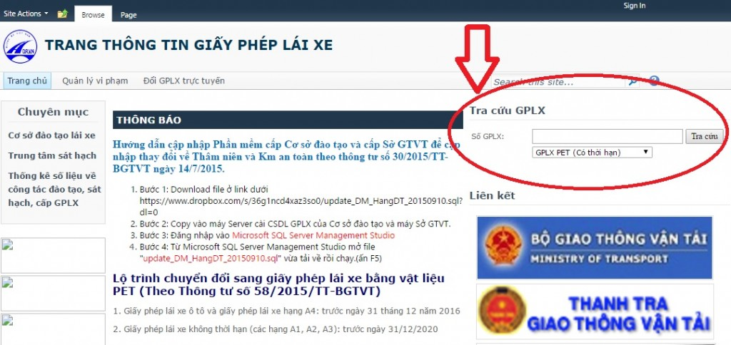 Website tra cứu giấy phép lái xe