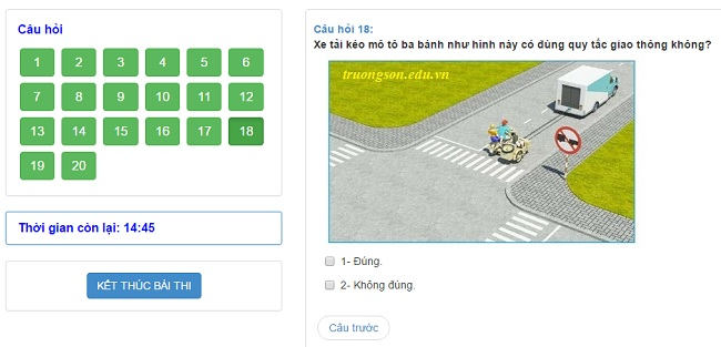 Phần mềm thi thử bằng lái xe A1